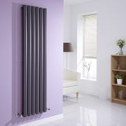 Milano Viti - Anthracite Diamond Panel Vertical Designer Radiator - 1600mm x 420mm (Double Panel)