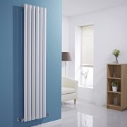 Milano Viti - White Vertical Diamond Panel Designer Radiator - 1780mm x 420mm