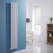 Milano Viti - White Vertical Diamond Panel Designer Radiator - 1600mm x 280mm