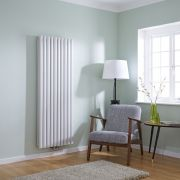 Milano Aruba Flow - White Vertical Panel Middle Connection Designer Radiator 1600mm x 590mm (Double Panel)