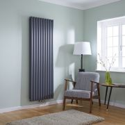 Milano Aruba Flow - Anthracite Vertical Double Middle Connection Designer Radiator 1780 x 590mm