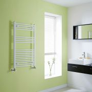 Milano Calder - White Curved Heated Towel Rail - 1000mm x 600mm