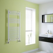 Milano Calder - Curved White Heated Towel Rail - 1200mm x 600mm