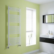 Milano Calder - Curved White Heated Towel Rail - 1500mm x 600mm