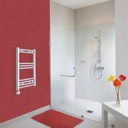Milano Ribble Electric - Curved Chrome Heated Towel Rail - 700mm x 400mm