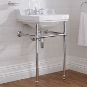 Milano Richmond - White Traditional Square Basin and Washstand - 560mm x 450mm (3 Tap-Holes)