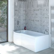 Milano Concept - 1675 x 850mm P Shape Shower Bath with Panels - Left Hand