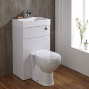 Milano Linton - White Modern Select Toilet and Basin Unit Combination - 502mm x 890mm (1 Tap-Hole)
