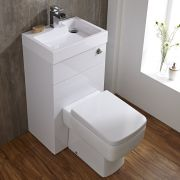 Milano Lurus - White Modern Square Toilet and Basin Unit Combination - 502mm x 890mm