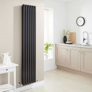 Milano Aruba - Luxury High Gloss Black Vertical Designer Double Radiator 1780mm x 354mm