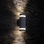 Biard Architect IP54 Round Up/Down Outdoor Wall Light - Black
