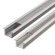 Biard Recessed Finned Aluminium Profile with Transparent or Frosted Cover and End Cap Set