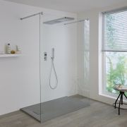 Milano Vis Two Outlet Digital Thermostatic Shower with Glass Grabbing Shower Head and Handset