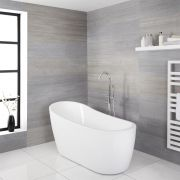 Milano Overton - White Modern Freestanding Slipper Bath - 1680mm x 720mm
