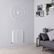 Milano Aruba Ayre - Aluminium White Horizontal Designer Radiator - 600mm x 590mm (Double Panel)