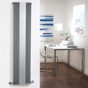 Milano Reflect - Anthracite Vertical Designer Radiator With Mirror - 1600mm x 420mm