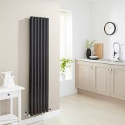 Milano Aruba - High Gloss Black Vertical Designer Radiator - 1600mm x 354mm (Double Panel)