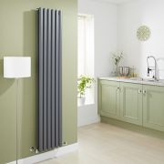 Milano Aruba - Anthracite Vertical Designer Radiator with Double Panel - 1780mm x 354mm