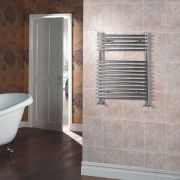Kudox Harrogate - Chrome Flat Bar on Bar Heated Towel Rail - 750mm x 450mm
