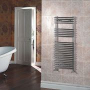 Kudox - Chrome Flat Bar on Bar Heated Towel Rail - 1150mm x 450mm