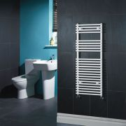 Kudox Harrogate - White Flat Bar on Bar Heated Towel Rail - 1150mm x 450mm