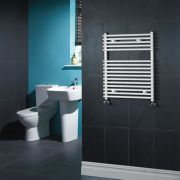 Kudox - White Flat Bar on Bar Heated Towel Rail - 750mm x 600mm