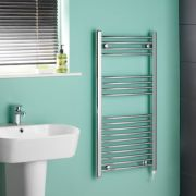 Kudox - Chrome Curved Standard Electric Heated Towel Rail - 1000mm x 500mm
