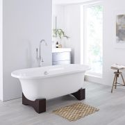 Milano Mellor - White Modern Freestanding Bath with Wooden Feet - 1750mm x 790mm (No Tap-Holes)