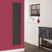 Milano Cayos - Luxury Anthracite Vertical Designer Radiator Sideways Panels 1600mm x 342mm