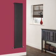 Milano Cayos - Luxury High-Gloss Black Vertical Designer Radiator Sideways Panels 1600mm x 342mm