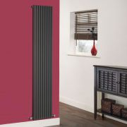 Milano Cayos - Luxury Anthracite Vertical Designer Radiator Sideways Panels 1780mm x 342mm