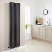 Milano Aruba - Luxury High Gloss Black Vertical Designer Double Radiator 1780mm x 472mm