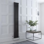 Milano Windsor - Black Traditional Vertical Column Radiator - 1800mm x 280mm (Double Column)
