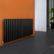 Milano Aruba - Luxury Black Horizontal Designer Double Radiator 635mm x 1180mm