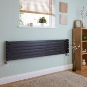 Milano Capri - High Gloss Black Horizontal Flat Panel Designer Radiator 354mm x 1600mm