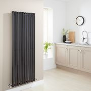 Milano Aruba - High-Gloss Black Vertical Designer Radiator 1600mm x 590mm