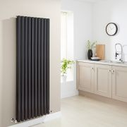 Milano Aruba - Black Vertical Designer Radiator - 1600mm x 590mm (Double Panel)