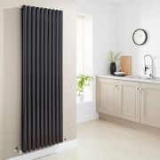 Milano Aruba - High-Gloss Black Vertical Designer Radiator 1780mm x 590mm (Double Panel)