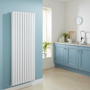 Milano Aruba - White Vertical Designer Radiator with Double Panel - 1600mm x 590mm