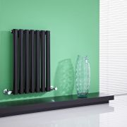 Milano Aruba - High-Gloss Black Horizontal Designer Radiator 635mm x 415mm