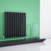 Milano Aruba - High-Gloss Black Horizontal Designer Radiator 635mm x 595mm