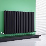 Milano Aruba - High-Gloss Black Horizontal Designer Radiator 635mm x 1000mm (Double Panel)