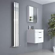 Milano Alpha - Chrome Vertical Slim Panel Designer Radiator 1600mm x 225mm