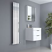 Milano Alpha - Chrome Vertical Flat Panel Designer Radiator - 1600mm x 300mm