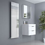 Milano Alpha - Chrome Flat Panel Vertical Designer Radiator - 1600mm x 450mm