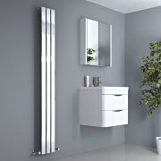 Milano Alpha - Chrome Flat Panel Vertical Designer Radiator - 1800mm x 225mm