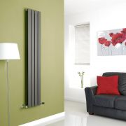 Milano Alpha - Anthracite Flat Panel Vertical Designer Radiator - 1600mm x 280mm (Double Panel)