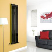 Milano Alpha - Black Flat Panel Vertical Designer Radiator - 1600mm x 350mm