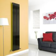 Milano High-Gloss Black Vertical Single Slim Panel Designer Radiator 1780mm x 350mm
