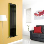 Milano Alpha - Black Flat Panel Vertical Designer Radiator - 1600mm x 420mm